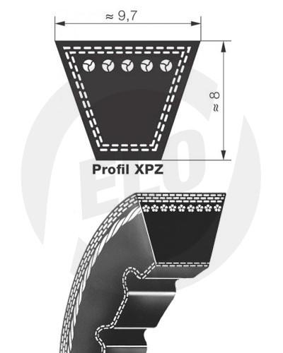 Klínový řemen 9,5x993 La-XPZ 980 Lw Quad-Power III Gates